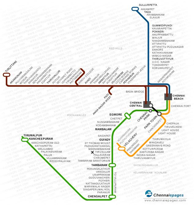 Chennai Train Route Map Train Route Map Chennai | Chennaiepages